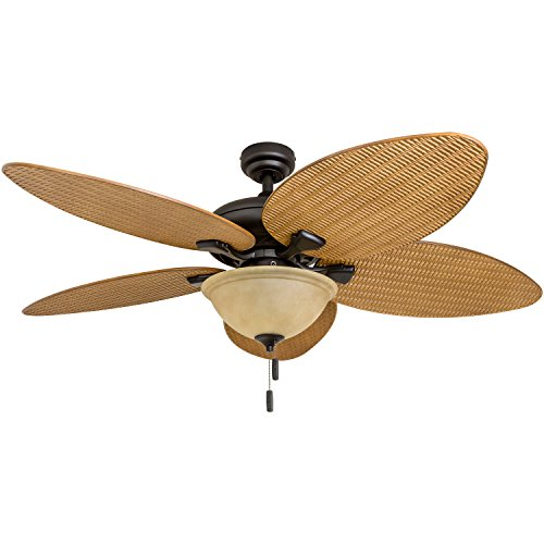 (Honeywell Ceiling Fans 50507-01 Palm Island 52-Inch Tropical Ceiling Fan with Tuscan Bowl Light, Five Leaf/Wicker Blades, Indoor/Outdoor,)