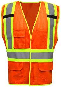 2XL/3XL HV212 Hi-Vis Orange/Lime Hook & Loop Mesh ANSI Type R Class 2 Body GuardTwo-Tone Breakaway Safety Vest