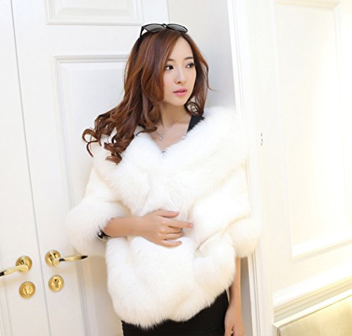 Telamee Lady's Bridal Wraps White Faux Fur Wedding Cape Shawl Scarves for Girls