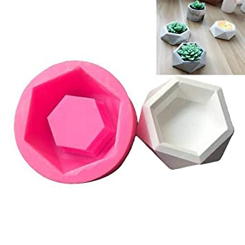 Diamond Shaped Surface Succulent Plant Flower Pot Silicone Mold DIY Ashtray Candle Holder Mould (4 Pcs) Hjuns