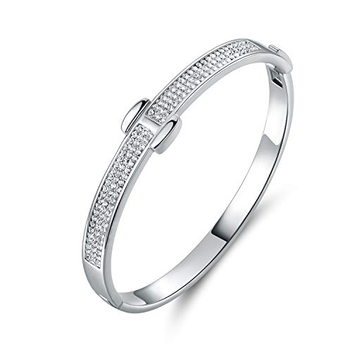 Bazel Gold Plated or White Gold Plated Crystal Belt Bangle Made with Swarovski Elements (White Gold) ()