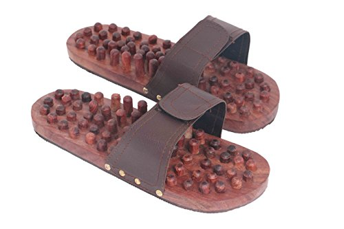 Handcrafted Casual Footwear (Valentine Day Special Present,  Wooden Footwear Massager with Brown Color Strip, Stress Pain Relief Massager,)