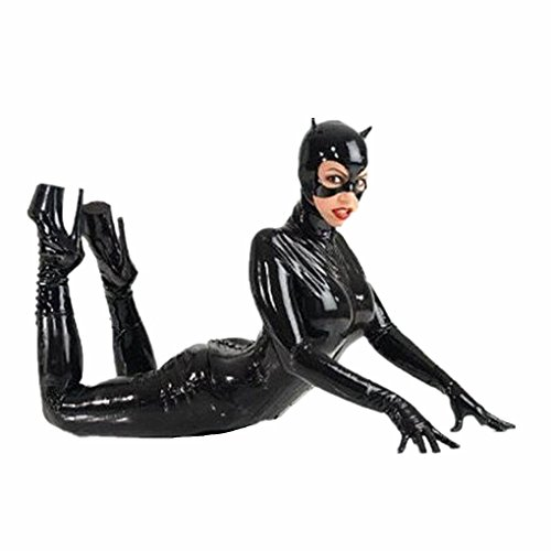 [Female Faux Leather Latex Bodysuit Catwoman Costume Mask Gloves] (Latex Catwoman Costumes)