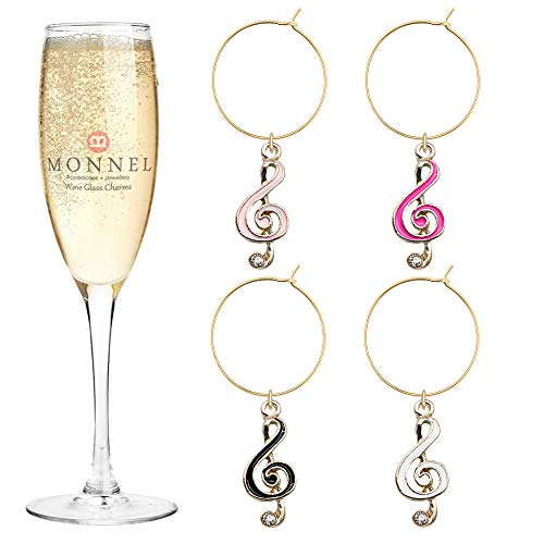 P436 Brand New Assorted Tiny Music Note Wine Charms Glass Marker for Party with Velvet Bag- Set of ()
