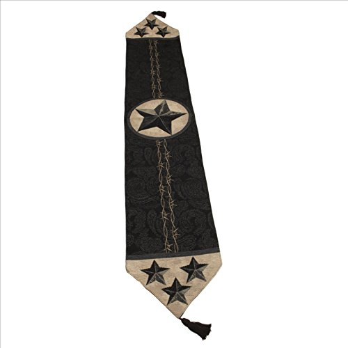 Manual Woodworker Western Star Black Table Runner 13x72 inches with Tassels