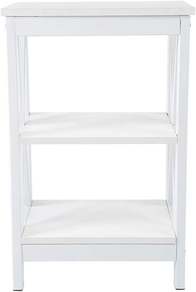 Cikonielf Mesita de Noche Blanco para Dormitorio Sala de Estar Estilo Elegante para Hogar Mesilla Auxiliar de Cama Sof/á con 2 Estantes Sal/ón 40 x 30 x 61cm