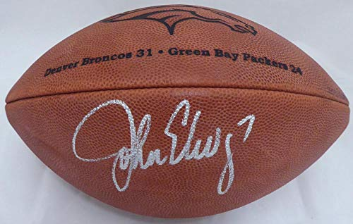 (Signed John Elway Football - Super Bowl XXXII #AE99469 - PSA/DNA Certified - Autographed Footballs)