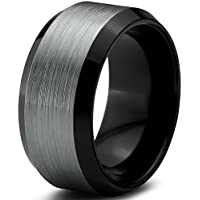 Charming Jewelers Tungsten Wedding Band Ring 10mm for Men Women Comfort Fit Black Beveled Edge Polished Brushed