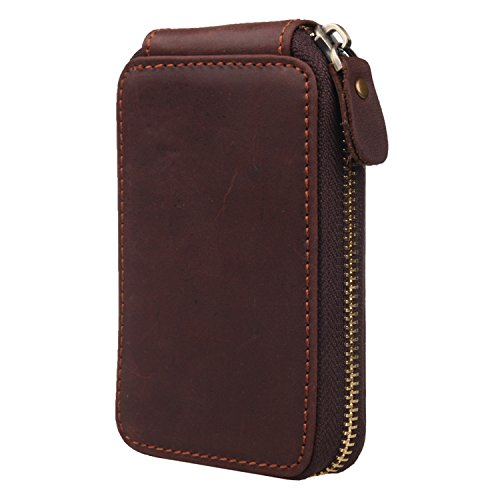 Polare Vintage Real Leather Handmade Zipper Key Pouch Case Clip Hook Wallet