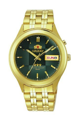 Orient #BEM5V001F Men's Facet Glass Gold Tone Stainless Steel Automatic Watch