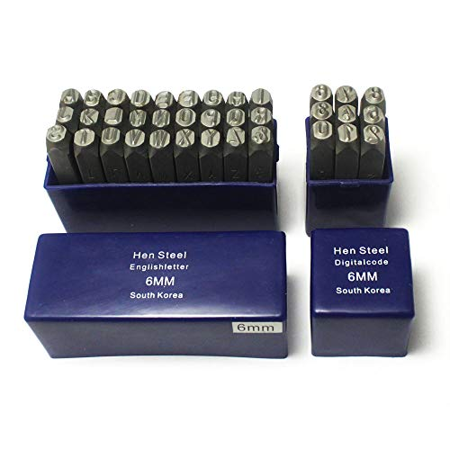 Oudtinx Number and Letter Stamp Set (36 Piece Punch Set/A-Z & 0-9) Industrial Grade Hardened Carbon Steel Metal - 1/4