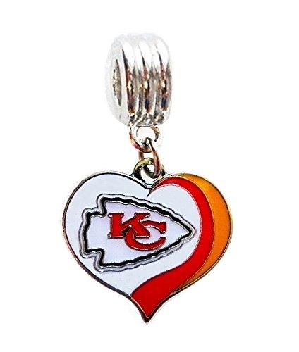 Heavens Jewelry KC KANSAS CITY CHIEFS FOOTBALL HEART TEAM CHARM PENDANT FOR NECKLACE EUROPEAN CHARM BRACELET (Fits Most Name Brands) DIY ETC ()