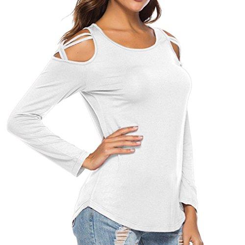 LQQSTORE Girocollo off Maglietta Donna Lunga Bianco Sciolto a Manica Lunga Spalla Moda Cime Strappy Manica Sexy Blusa Camicette B6wBfxqzP
