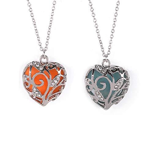 2pcs Glow in Dark Women Necklace Hollow Out Heart Crystal Pendant Luminous Necklaces (Blue+Orange)-YDAN19-8