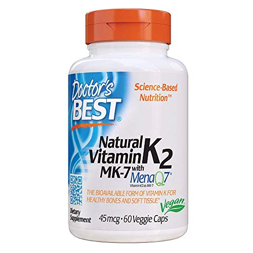 Doctor's Best Natural Vitamin K2 MK-7 with MenaQ7, Non-GMO, Vegan, Gluten Free, Soy Free, 45 mcg 60 Veggie Caps