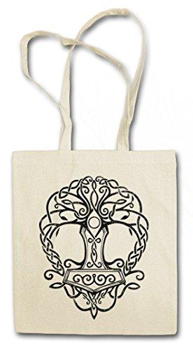 YGGDRASIL MJÖLNIR Hipster Shopping Cotton Bag Borse riutilizzabili per la spesa – albero Yggdrasill mitologia norrena Tree of Life Walhall Walhalla Ravens Odin Thor Mjölnir Loki Midgard Rune