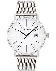 Gigandet Herren-Armbanduhr Quarz Analog Milanaise Edelstahlarmband Silber Minimalism G42-005