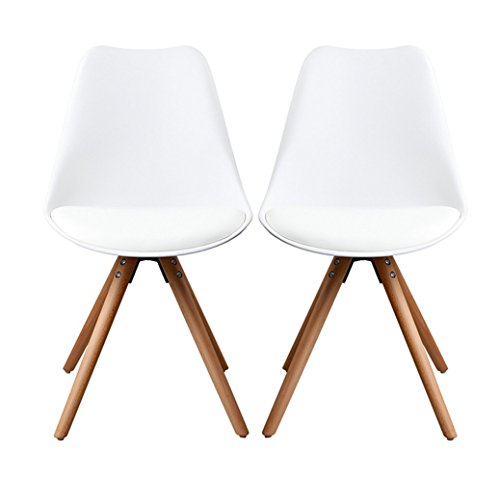 Wylang Eames Chair Armless Dining Room ChairsNatural Wooden Legs Molded Seat Chair White Set of 2 For Sale