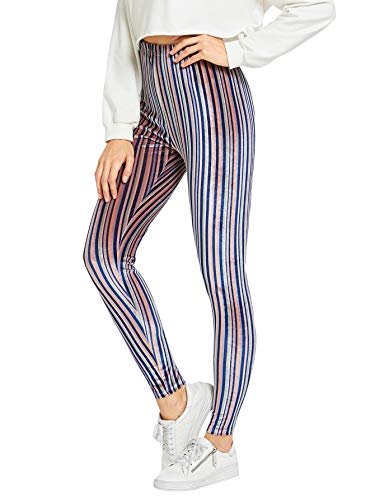 WDIRARA Women's Casual Striped Print Elastic Waist Capris Pants Velvet Leggings Multicolor S