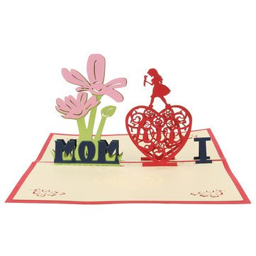 Decoration - Creative Red Paper Carving 3d Card Thanksgiving Day Gift For Families Toys - Cards Mothers Happy Card Birthday Popup Love Mother S Thanksgiving Carving - Thanksgiving - - Family Solstice Care