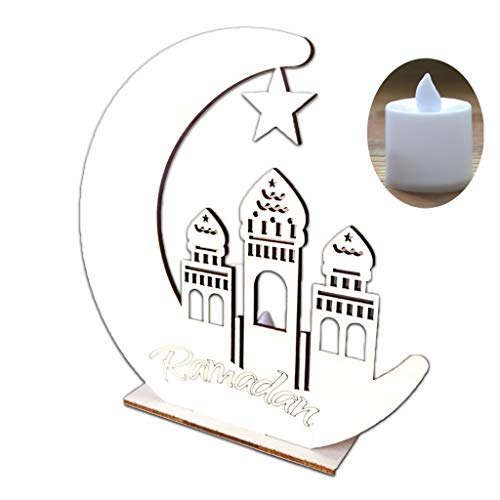 lehaha Eid al-Fitr, Wooden Ramadan Eid Mubarak Moon Star Islam Hanging Pendant Plate With LED Light Ornament Home Decor DIY Gift ()