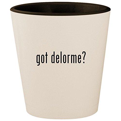 got delorme? - White Outer & Black Inner Ceramic 1.5oz Shot Glass -
