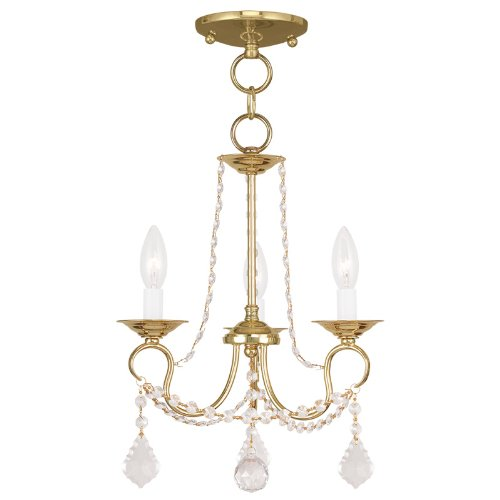 Brass Crystal Pendant (Livex Lighting 6513-02 Pennington 3 Light Convertible Chain Hang/Ceiling Mount, Polished)