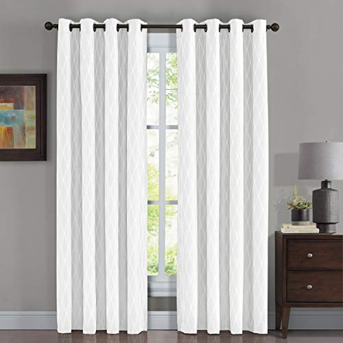 Victoria Thermal Blackout Panels, Top Grommet Jacquard Room Darkening Window Curtains, Pair, Set of 2 Panels, 54 inches Width by 84 inches Long Each Panel, White
