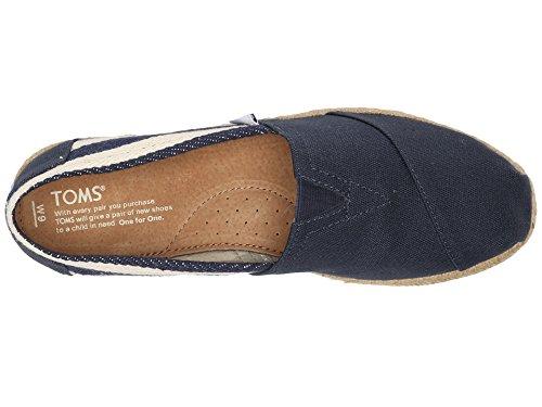 Toms Donna Classica Lino Corda Suola Comoda E Facile Da Montare Slip Universitario Blu Scuro