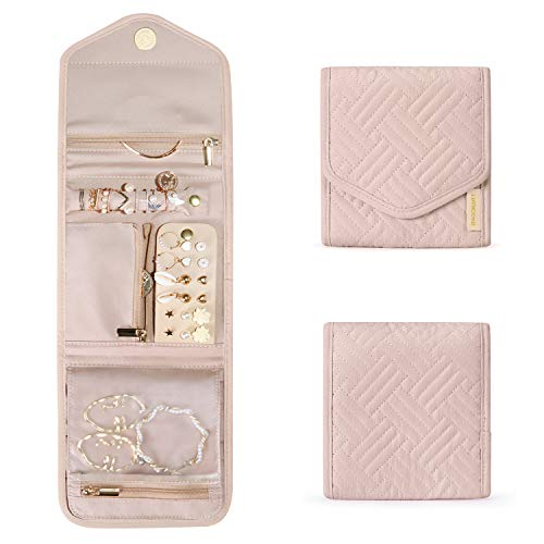 BAGSMART Travel Jewelry Organizer Case Foldable Jewelry Roll for Journey-Rings, Necklaces, Earrings, Bracelets, Soft Pink