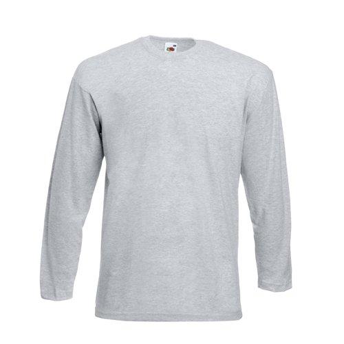 Valueweight Longsleeve T-Shirt von Fruit of the Loom S M L XL XXL sowie einen Kalender von Pluspol im Visitenkartenformat L,Grau