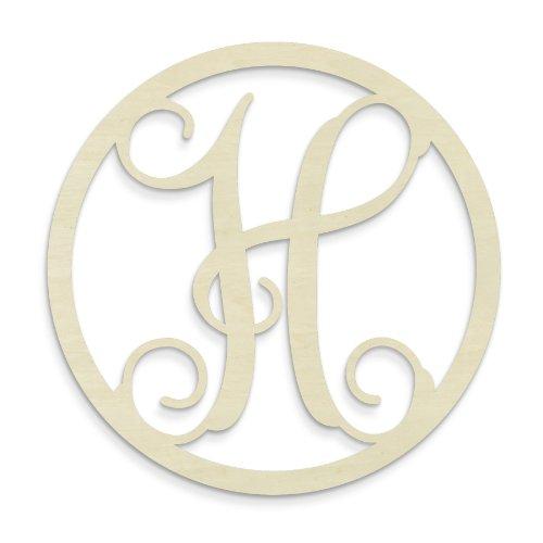 UNFINISHEDWOODCO Single Letter Circle Monogram-H, 19-Inch, Unfinished