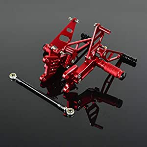 FXCNC Racing Billet Motorcycle Rearset Foot Pegs Rear Set Footrests Fully Adjustable Foot Boards Fit For Honda CBR954RR CBR929RR 2000 2001 2002 2003 Red