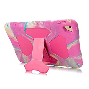 iPad Mini 4 Case, ACEGUARDER for Kids [Impact Resistant] [Shockproof] [Heavy Duty] Full Body Protection Cover with Kickstand & Dual Layer Design for iPad Mini 4 2015 (4th Generation) (Pink Camo/Rose)