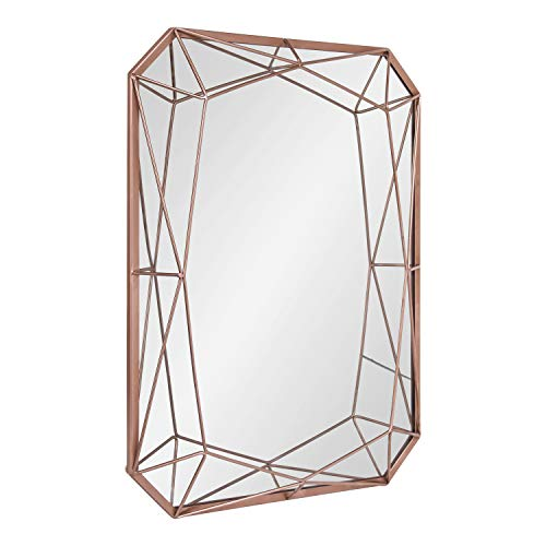 Kate and Laurel Keyleigh Modern Glam Geometric Shaped Metal Accent Wall Mirror, Rose -