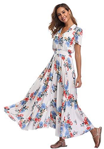 VintageClothing Women's Floral Print Maxi Dresses Boho Button Up Split Beach Party Dress, M