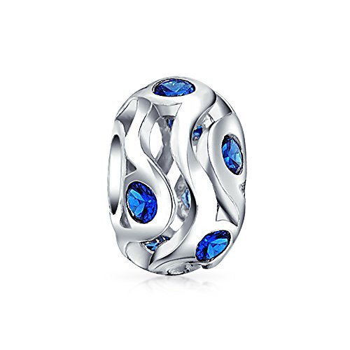 Simulated Sapphire CZ 925 Sterling Silver Bead - Memories Jewelry Charmed Kays