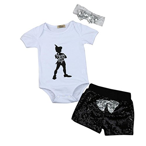 TRENDINAO 2017 New Newborn Baby Girls Boys Letter Tops Romper Sequin Shorts Pants Outfits Clothes Set (6-12 Months, (All Black Costumes Tumblr)