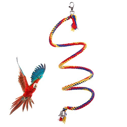 QBLEEV Bird Rope Perches with Bells,Parrots Birdcage Hanging Bungee Swing Toy,Parrot Stand by Bonweite for Parakeets, Lovebird, Caique, Conures African Grey,Macaws,Cockatiels