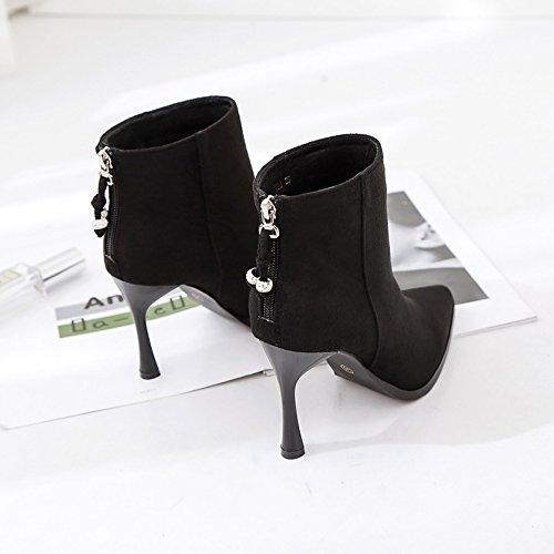 fine fine et Bottes Martin perceuse chaussures en 38 velours Bottes ultra Bottes à Bottes femelle hauts Martin avec 面 avec talons Yalanshop Noir qwdCaq