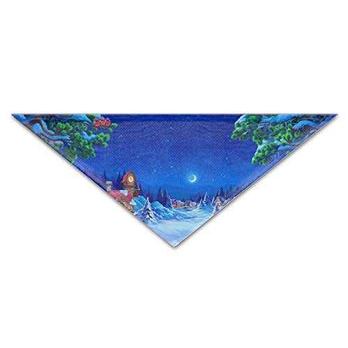 Artistic Winter Village Night Moon Snow Dog Bandana Washable Reversible Triangle Bibs Scarf, Plaid Painting Kerchief for Small/Medium/Large Dogs and Cats