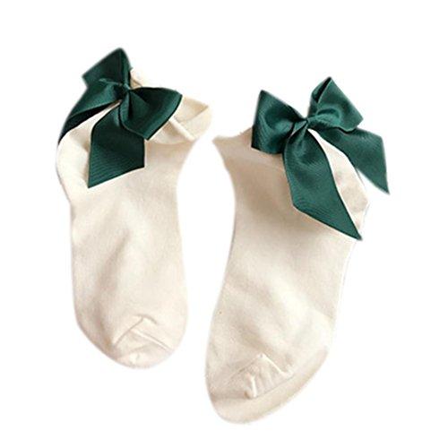 Sagton Kvinner Harajuku Street Style Sokker Bomull Ankel Lengde Sokker Mannskap Sokker Med Bowknot Hvit + Dyp Grønn