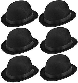 f3ffea98d13 Image Unavailable. Image not available for. Colour  6 x Black Bowler Hat  Fancy Dress Adults ...