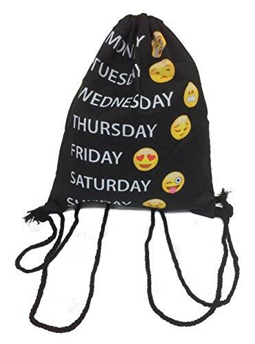 Turnbeutel / Gymsack / Tasche / Beutel Smiley mit Wochentagen / Emoticons / Emoji schwarz / gelb