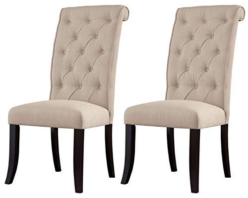 Ashley Furniture Signature Design - Tripton Dining Room Side Chair Set - Upholstered - Vintage Casual - Set of 2 - Linen (Upholstered Dining Chairs Tufted)