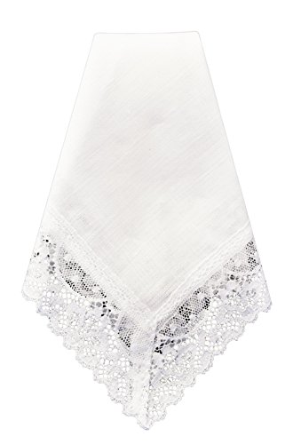(Thomas Ferguson Irish Linen - Ladies Wide Edge Lace Handkerchief, BH455, White)