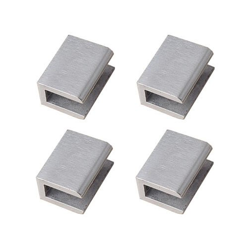 4pcs Adjustable 304 Stainless Steel Glass Clip Clamp Shelf Holder Bracket Support 0.23''-0.35'', Brushed Finish Flat Surface, 2 Pairs Wall Mounted by iOrange
