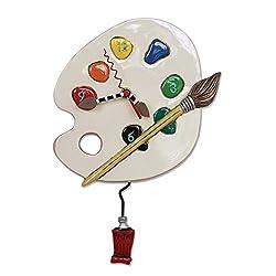 Allen Designs Art Time Whimsical Artist Palette Pendulum Wall Clock