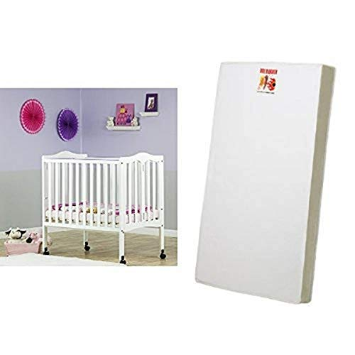 Dream On Me 2 in 1 Lightweight Folding Portable Stationary Side Crib, White and 3 Portable Crib Mattress, White