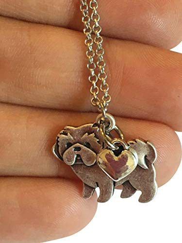 Shih Tzu Charm Necklace, Shihtzu Pet Dog Lover Gift, Silver Metal with Heart Charm on a Chain, Ladies I Love Shitzu Short Hair
